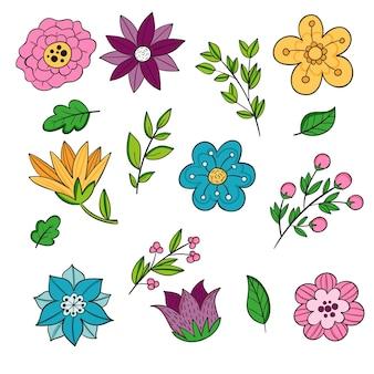 Ręcznie rysowane wybór kwiatów wiosny
