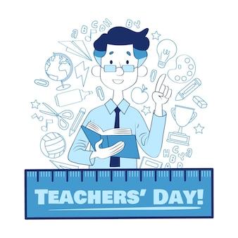 Ręcznie rysowane wydarzenie dnia nauczyciela stylu