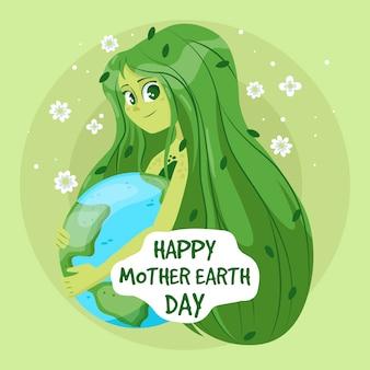 Ręcznie rysowane wydarzenie dzień matki ziemi