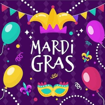 Ręcznie rysowane wydarzenie mardi gras