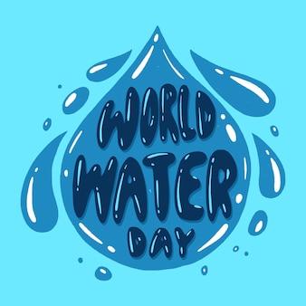 Ręcznie rysowane wydarzenie światowego dnia wody