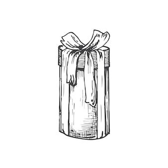 Ręcznie rysowane wysokie pudełko na prezent bożonarodzeniowy ze wstążką ilustracja wektorowa abstrakcyjny szkic zima ho...