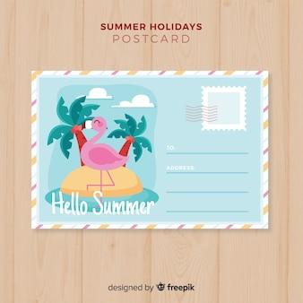 Ręcznie rysowane wyspa lato pocztówka