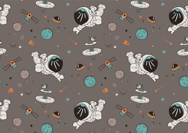 Ręcznie rysowane wzór astronautów