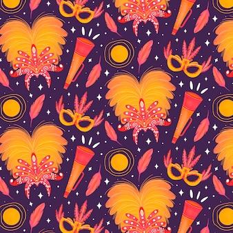 Ręcznie rysowane wzór brazylijskiego karnawału