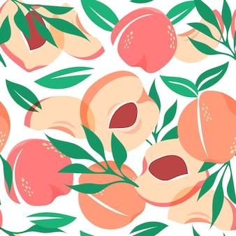 Ręcznie rysowane wzór brzoskwini