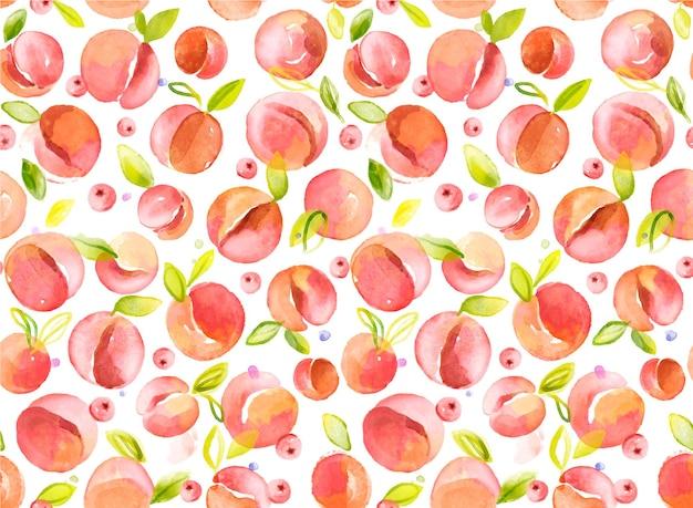 Ręcznie rysowane wzór brzoskwinie akwarela