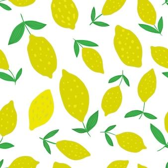Ręcznie rysowane wzór cytryny z liści. wzór z kolekcji owoców cytrusowych. letni projekt na tkaninę, nadruk tekstylny, papier pakowy, tekstylia dla dzieci. ilustracja wektorowa