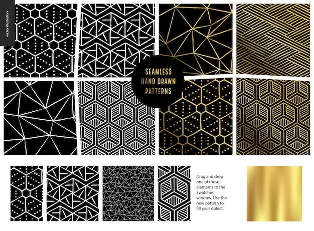 Ręcznie rysowane wzór - czarny