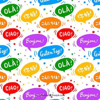Ręcznie rysowane wzór cześć słowo w różnych językach