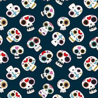 Ręcznie rysowane wzór dia de muertos