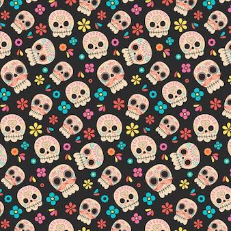Ręcznie rysowane wzór día de muertos