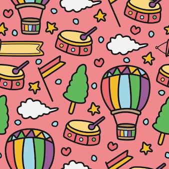 Ręcznie rysowane wzór doodle kawaii