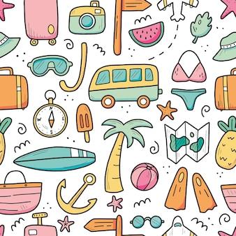 Ręcznie rysowane wzór elementów wakacji letnich podróży