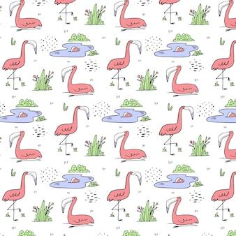 Ręcznie Rysowane Wzór Flamingo Premium Wektorów