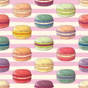 Ręcznie rysowane wzór francuskie deserowe makaroniki