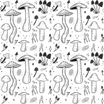 Ręcznie rysowane wzór grzybów