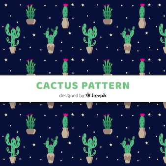Ręcznie rysowane wzór kaktusów i gwiazd