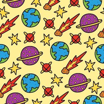 Ręcznie rysowane wzór kawaii planety