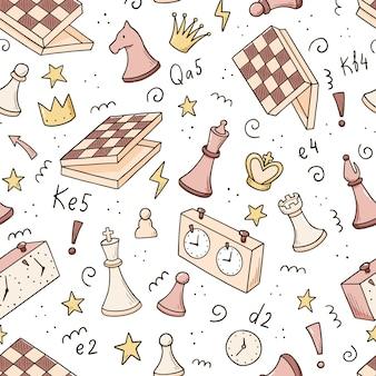 Ręcznie rysowane wzór kawałków gry w szachy kreskówka. doodle styl szkicu.