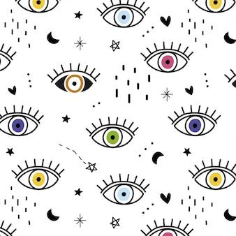 Ręcznie rysowane wzór kolorowe oczy