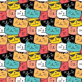 Ręcznie rysowane wzór kotów. doodle sztuki