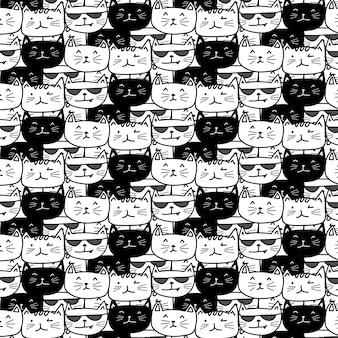 Ręcznie rysowane wzór kotów