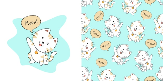 Ręcznie rysowane wzór ładny kot