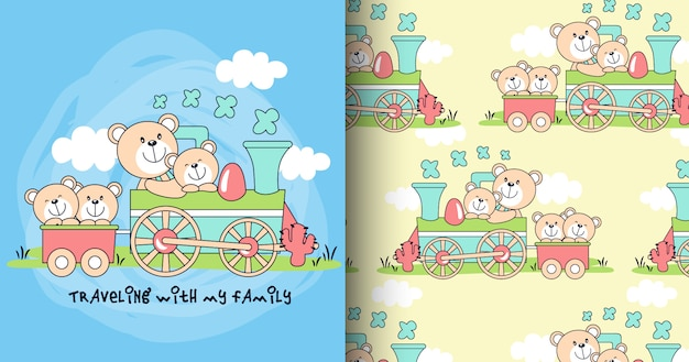 Ręcznie rysowane wzór ładny niedźwiedź i karty