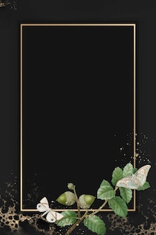 Ręcznie rysowane wzór liścia dębu z prostokątną złotą ramą na tle