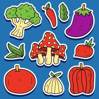 Ręcznie rysowane wzór naklejki z warzywami doodle