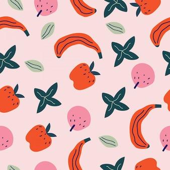 Ręcznie rysowane wzór owoców i kwiatów