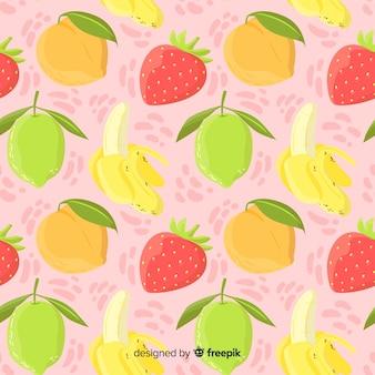 Ręcznie rysowane wzór owoców tropikalnych