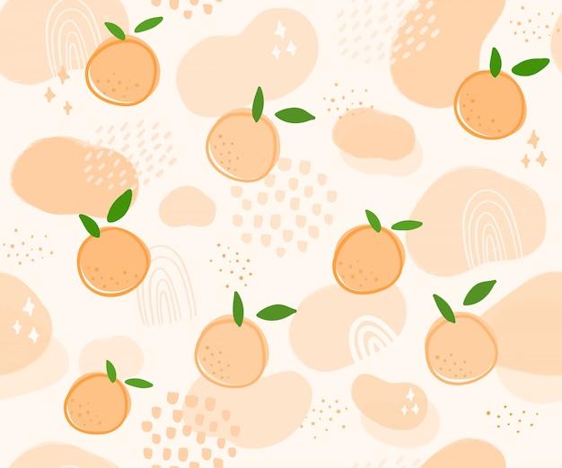 Ręcznie rysowane wzór pomarańczowy owoc