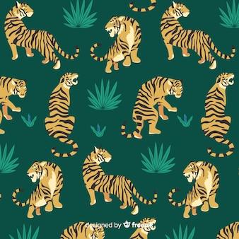 Ręcznie rysowane wzór rocznika tygrysa