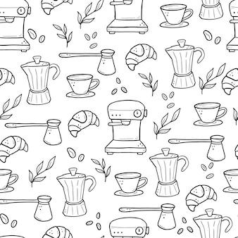 Ręcznie rysowane wzór różnych typów filiżanek, kubków, garnków, ekspresów do kawy. doodle styl szkicu.