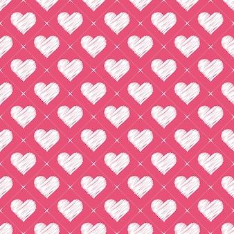 Ręcznie rysowane wzór serca. walentynki tło dla szablonu wakacje. kreatywna i luksusowa ilustracja w stylu