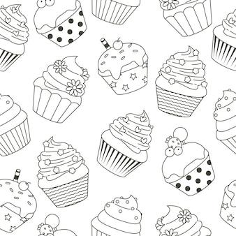 Ręcznie rysowane wzór słodkie ciastko