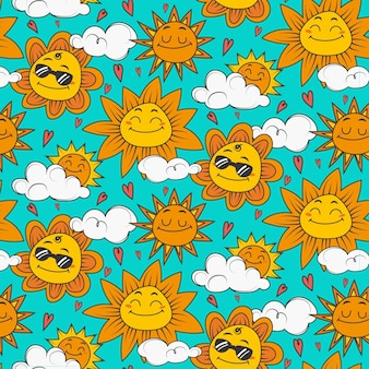 Ręcznie rysowane wzór słońca