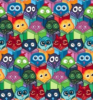 Ręcznie rysowane wzór sowy