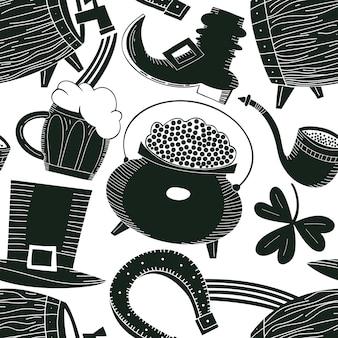 Ręcznie rysowane wzór st. patricks day. kapelusz krasnoludek, koniczyna, kufel piwa, beczka, ilustracja garnek złotej monety. irlandzkie pochodzenie.
