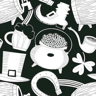 Ręcznie rysowane wzór st. patricks day. kapelusz krasnoludek, koniczyna, kufel piwa, beczka, ilustracja garnek złotej monety.