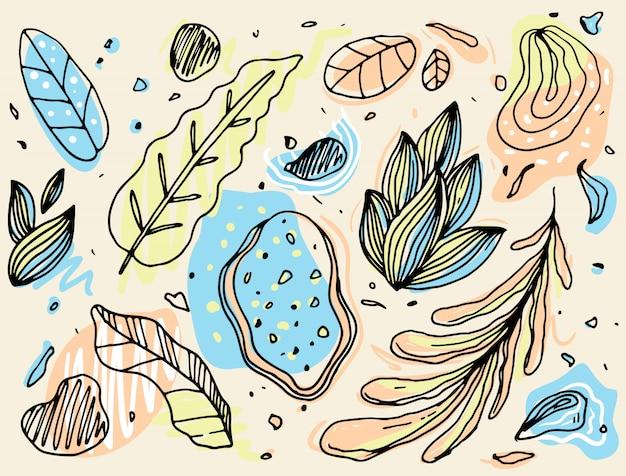 Ręcznie rysowane wzór streszczenie liść opisane