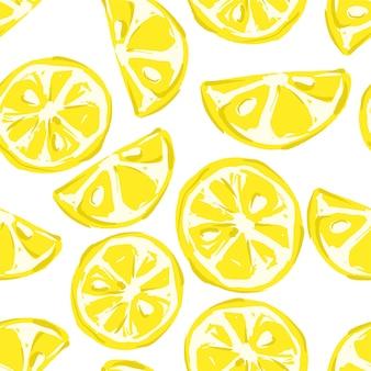 Ręcznie rysowane wzór tła cytryny bez szwu