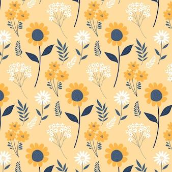 Ręcznie Rysowane Wzór Tłoczonych Kwiatów Darmowych Wektorów