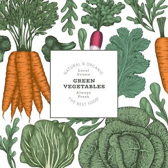 Ręcznie rysowane wzór warzyw w kolorze vintage