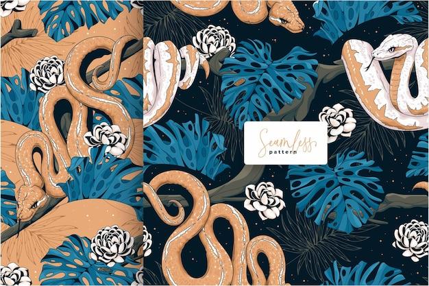 Ręcznie rysowane wzór węża i monstera liści