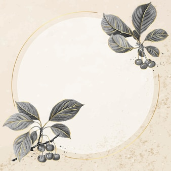 Ręcznie rysowane wzór wiśni z okrągłym złotym wektorem ramki