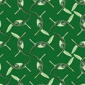 Ręcznie rysowane wzór z abstrakcyjnymi kształtami palm zwrotnikowych. zielone jasne tło.