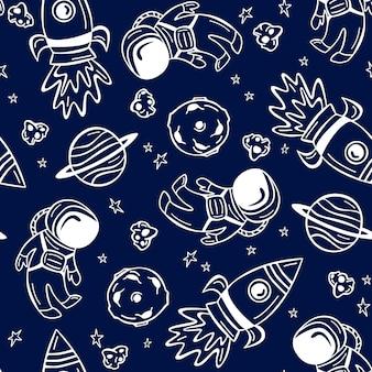 Ręcznie rysowane wzór z astronautą, rakietą i planetami w stylu bazgroły.